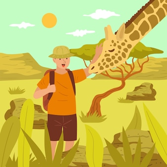 Young man petting a giraffe