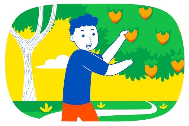 若い男は庭で果物を選びます。