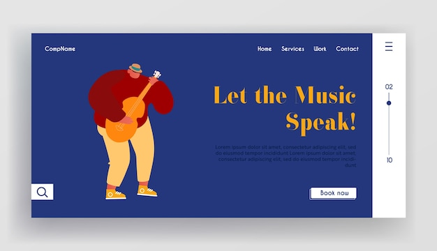 Young man playing acoustic guitar website landing page.