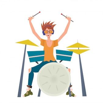 드럼 세트를 재생하는 젊은 남자. 드러머, 음악가. 그림, 흰색 배경입니다.