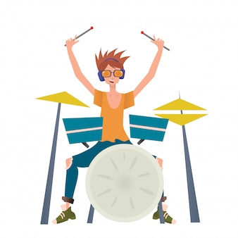 Young man playing drum set. drummer, musician.  illustration,  on white background.