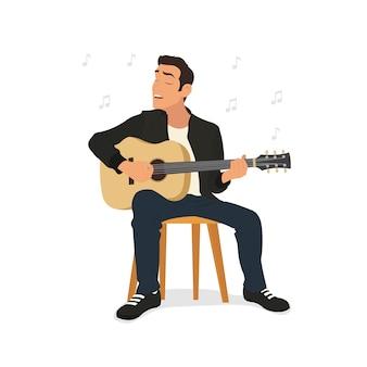 ギターを弾く若い男と歌を歌います。
