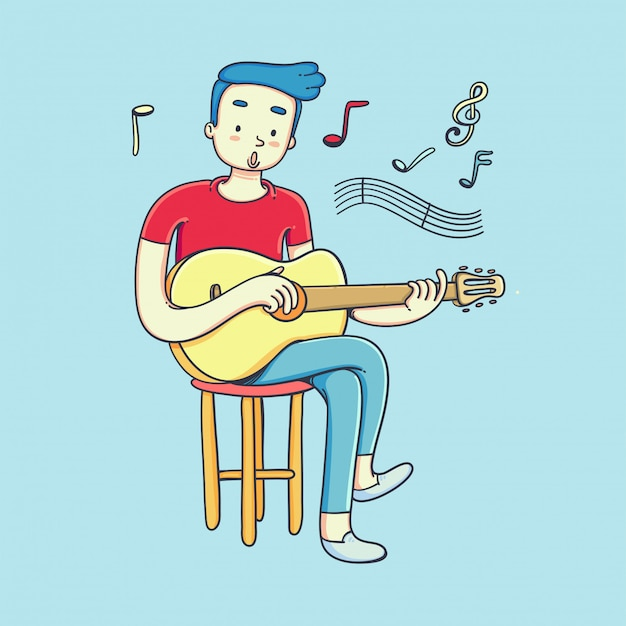 Young man playing guitar and sings a song.