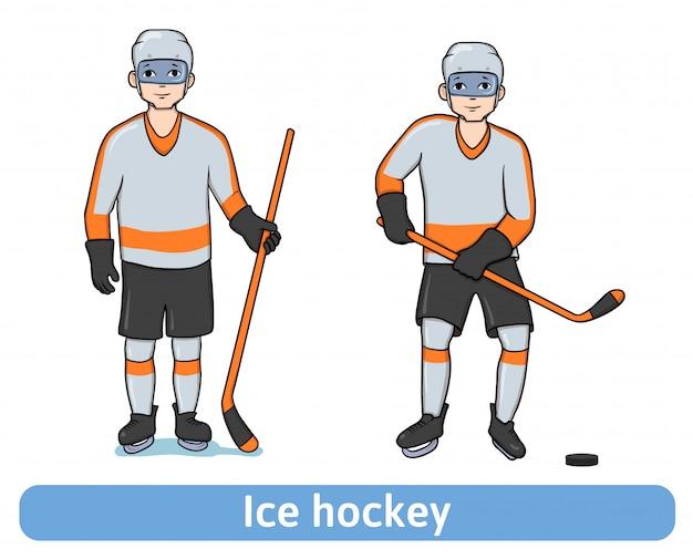 Молодой человек играет в хоккей. хоккеист с клюшкой стоит и в движении. зимний спорт, активный отдых. иллюстрация, на белом.