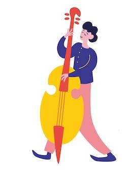 Молодой человек играет на контрабасе. молодой человек играет на контрабасе. мужской джазовый музыкант.