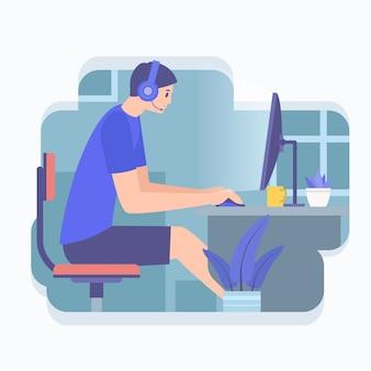 Giovane che gioca video gioco online