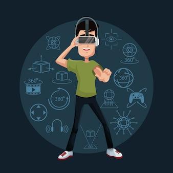 Young man playing virtual reality wearing goggle