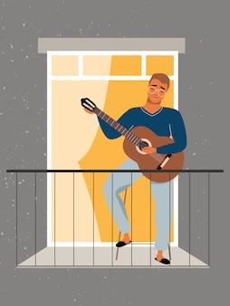 若い男はバルコニーでギターを弾きます。隔離と自己分離の概念。パンデミックの間、家にいること。ギターの弾き方を学ぶ窓辺の男。自宅でのギターレッスン。