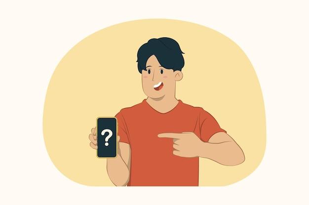 若い男は携帯電話の概念の人差し指を指す