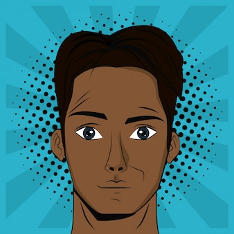 Young man pop art background