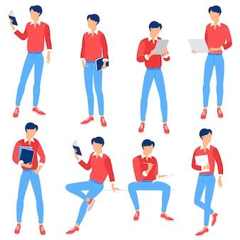 Молодой человек позирует для веб-страницы и мобильного приложения Premium векторы