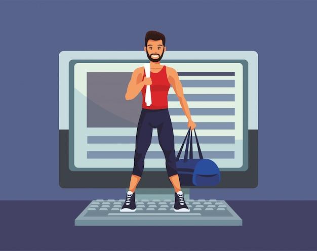 検疫のためのオンライン運動の練習の若い男