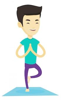 Представление дерева йоги молодого человека практикуя.