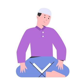 Молодой человек молится за день рамадана