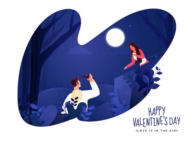 Young man proposing woman on paper cut nature night scene background for happy valentine's day celebration.