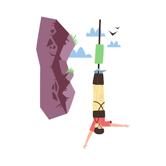 Young man in protective equipment makes bungee jump from cliff. bungee entertainment and extreme sport activity, flat vector illustration isolated on white background.
