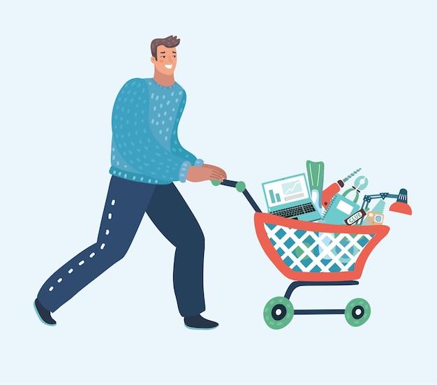 空のスーパーマーケットのカートを押す若い男