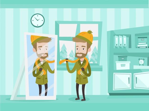暖かい冬の屋外服を着て若い男。