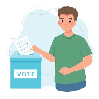Молодой человек ставит голос в урну для голосования