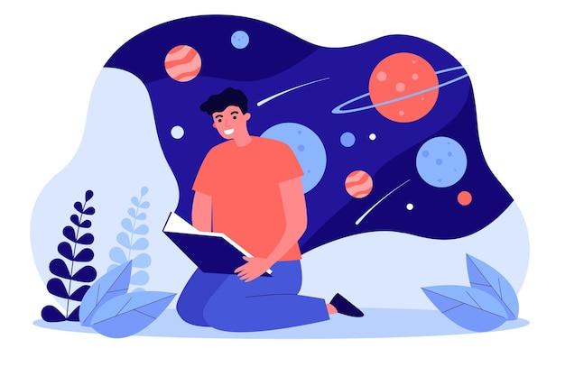 宇宙についての本を読んでいる若い男。フラットベクトルイラスト。遠くの銀河、惑星、宇宙旅行を夢見て勉強している男。天文学、サイエンスフィクション、宇宙、文学、教育の概念