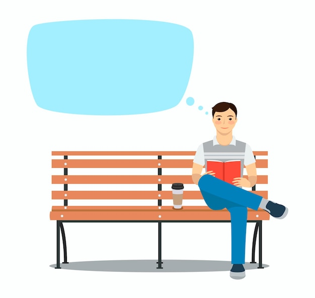 Young man reading book on the bench rest and outdoor quiet time vector illustration speech bubble