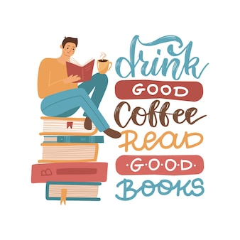 Young man reading a book sitting on stack of big books with hot coffee mug