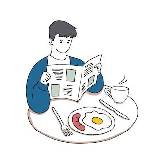 朝食を食べながら新聞を読んでいる若い男、おはようコンセプト、手描き線画スタイルのベクトルイラスト。