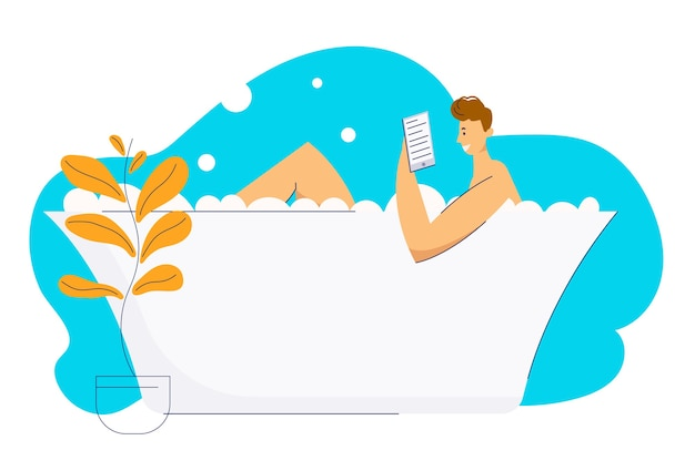 Young man relaxing in bath and reading e-book. male character in bathroom with book. guy relax in bathtub full of foam.