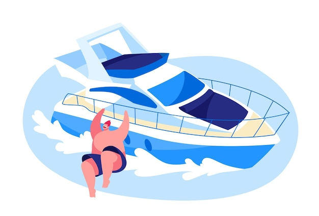 海で豪華ヨットでリラックスした若い男