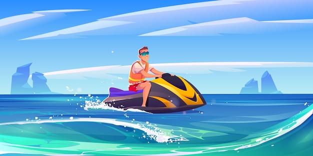 若い男がアクアバイクに乗って、海でジェットスキー