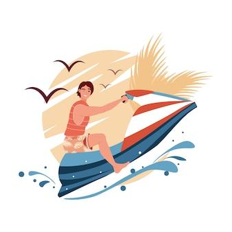 젊은 남자가 바다에서 수력 순환을 타고. jetski 조경 표지 디자인. 물 스쿠터 파도 만화 그림에 여름 휴가. 캐릭터 레이싱 워터 스쿠터