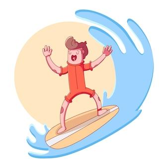 若い男がサーフボードに乗る