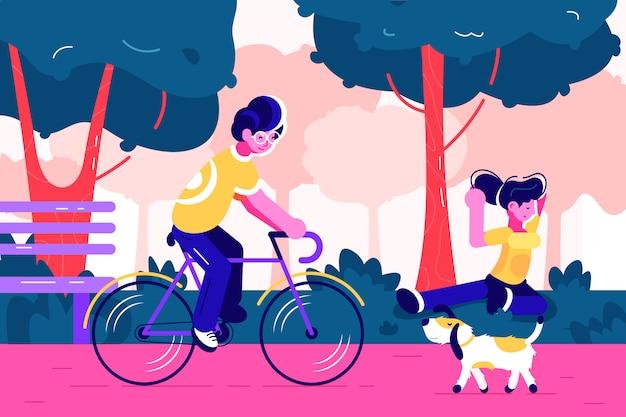 푸른 나무와 도시 도시 공원에서 자전거를 타는 젊은이 벤치. 개 산책. 젊은 사람들은 야외 공원에서 운동, 사이클링, 요가 연습. 건강한 라이프 스타일, 피트니스.