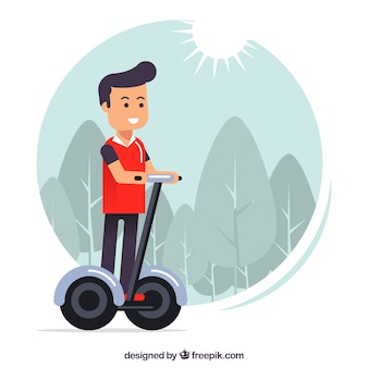 Young man riding electric scooter