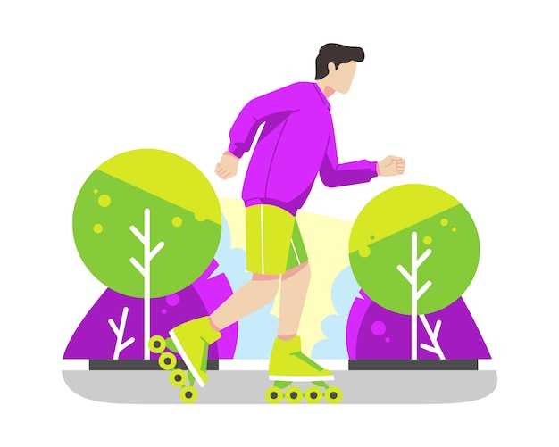 Young man rollerskating in park vector illustration