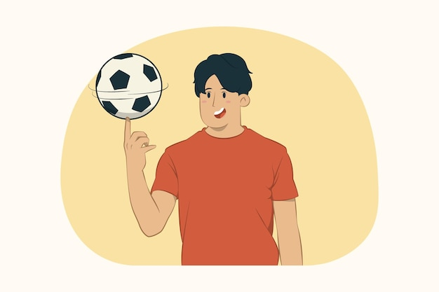 Young man rotating soccer ball on finger