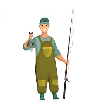 Young man in rubber suit and with fishing rod in his hands. caughted fish in hand. successful fishing