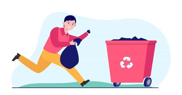Молодой человек бежит и выносит мусор