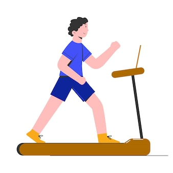 Young man running on a professional treadmill