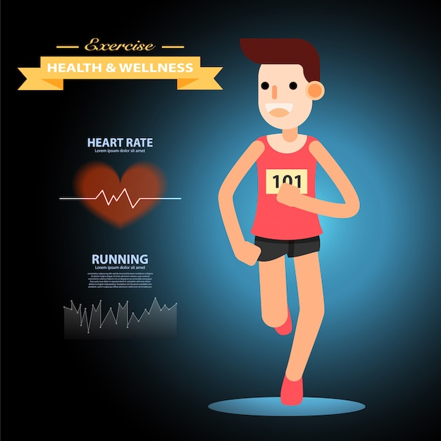 Young man running and training for marathon sport infographic.