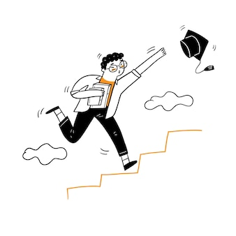 The young man running up to the stair for grabbing graduation cap, vector illustration cartoon doodles style