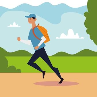 公園のイラストでバックパックを持って走っている若い男