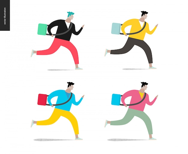 Young man running with a bag in four colors