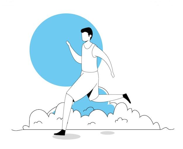 Молодой человек бежит
