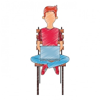 Young man seated on chair using laptop scribble faceless