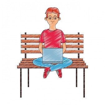 Young man seated on chair using laptop scribble
