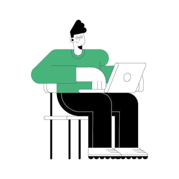 Молодой человек сидит с персонажем ноутбука