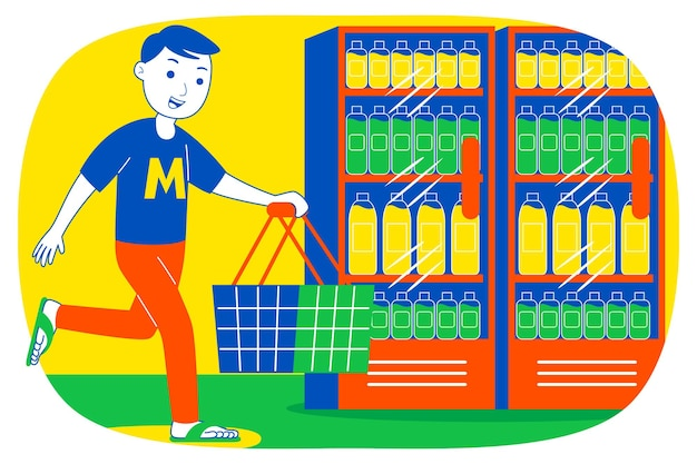 Молодой человек делает покупки в супермаркете.