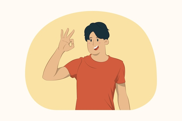 Young man showing ok gesture concept