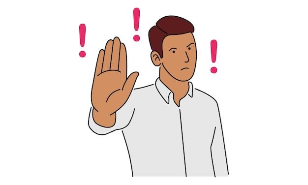 Молодой человек показывает ладонь как знак остановки, пребывания, удержания или отказа